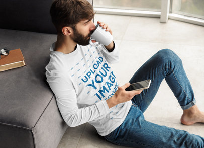 Long Sleeve Tee Mockup of a Man Chilling at Home 40370-r-el2