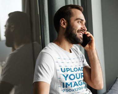 T-Shirt Mockup of a Bearded Man Talking on the Phone 40316-r-el2
