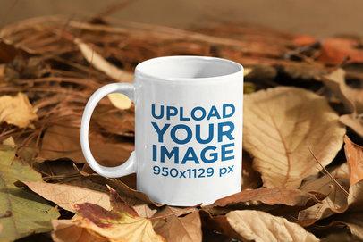 11 oz Mug Mockup Featuring a Fall Environment 136