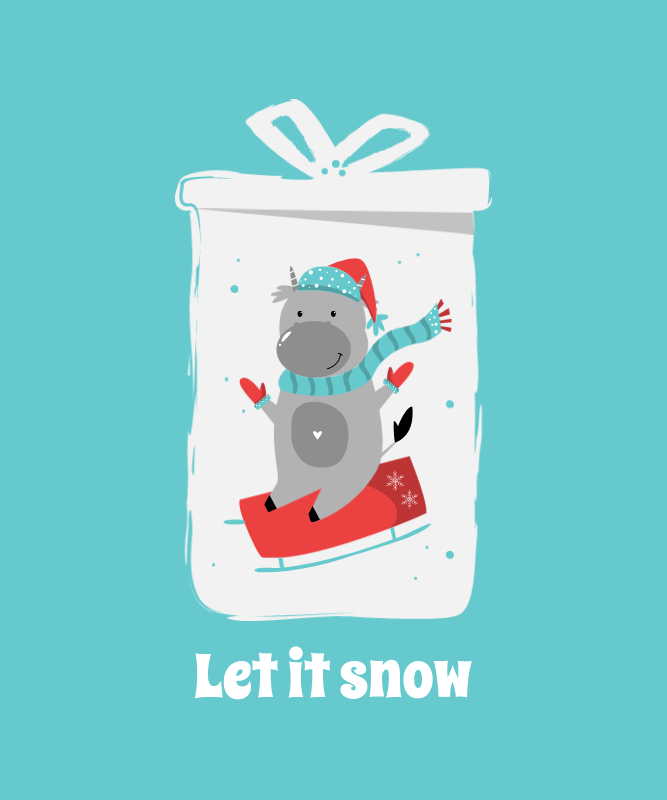 X-Mas T-Shirt Design Template with a Cute Snowy Theme 3033a-el1