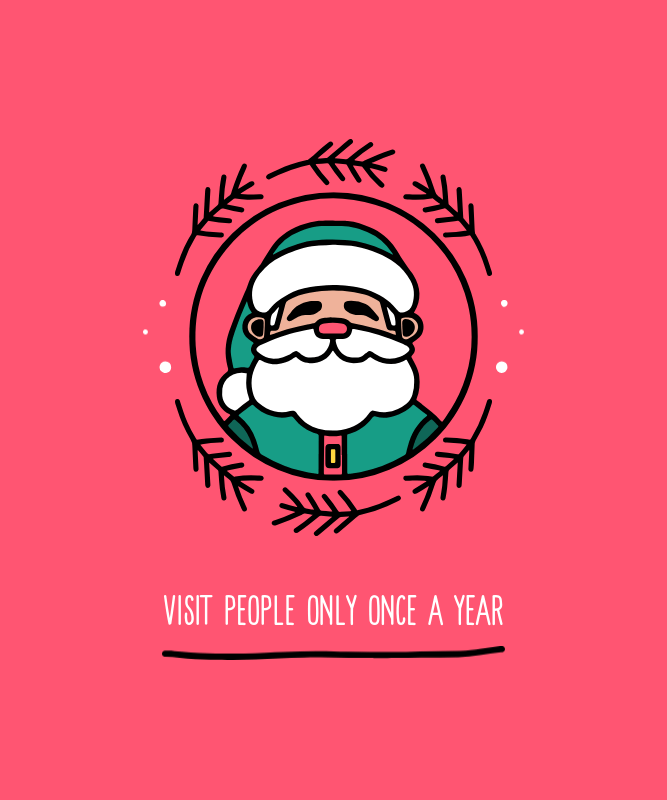 Christmas T-Shirt Design Creator with a Simple Graphic of Santa Claus 3041e-el1