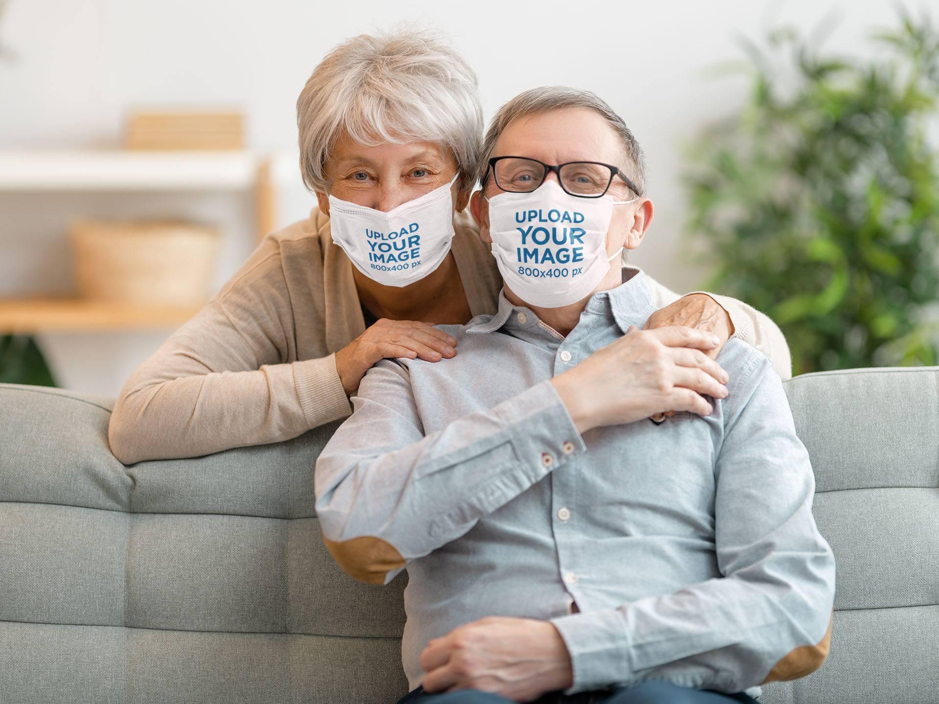 Mockup of a Senior Couple Wearing Face Masks at Home 44038-r-el2