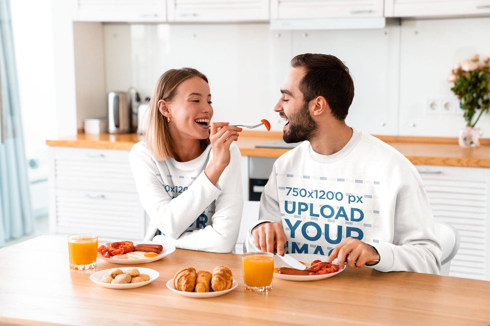 Sweatshirt Mockup of a Couple Having Breakfast Together 40244-rel2