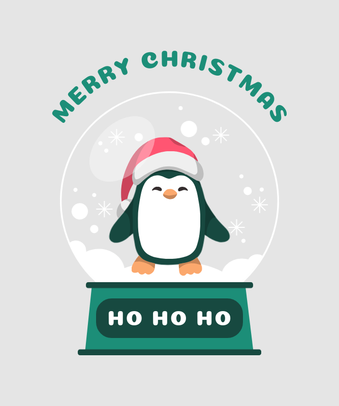 Christmas-Themed T-Shirt Design Template with a Wholesome Penguin Illustration 3035d-el1