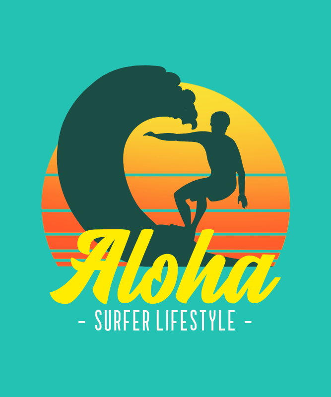 Vintage T-Shirt Design Template Featuring a Graphic of a Surfer 3042a