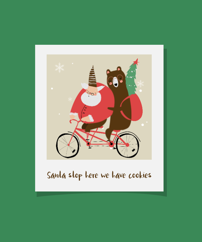Christmas T-Shirt Design Maker Featuring Santa Riding a Bike with a Bear 3045a-el1