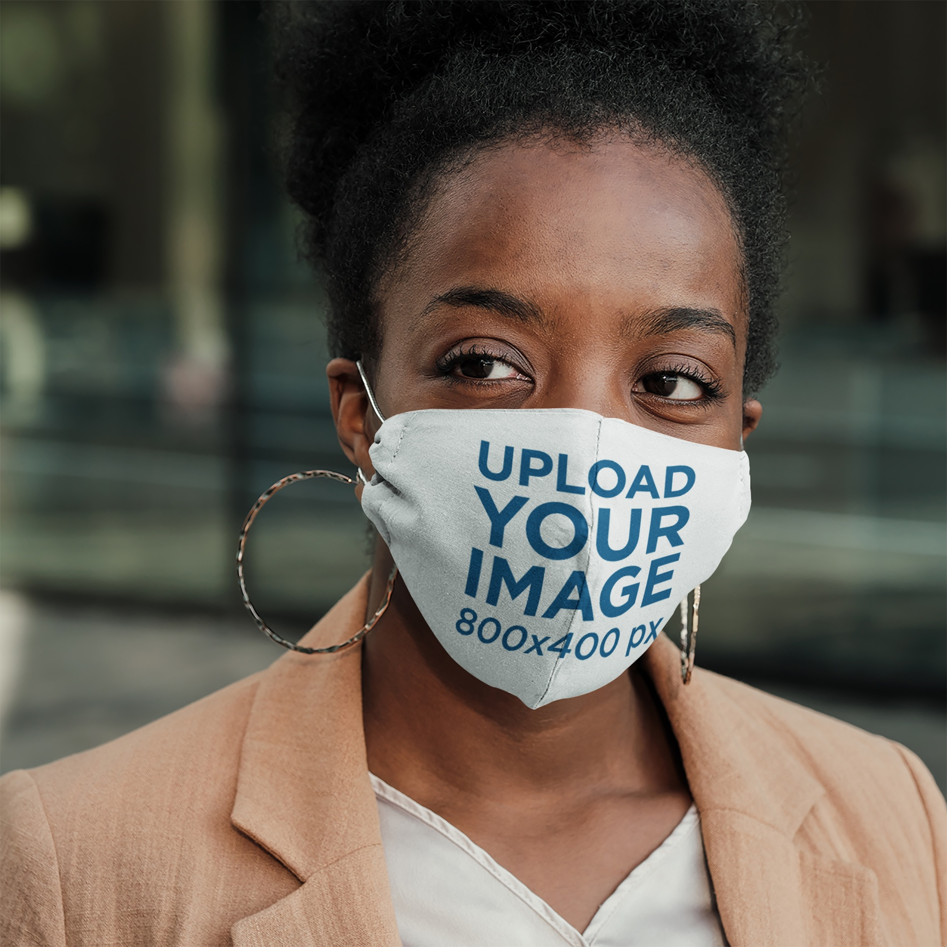 Mockup of a Serious Businesswoman Wearing a Face Mask 43865-r-el2