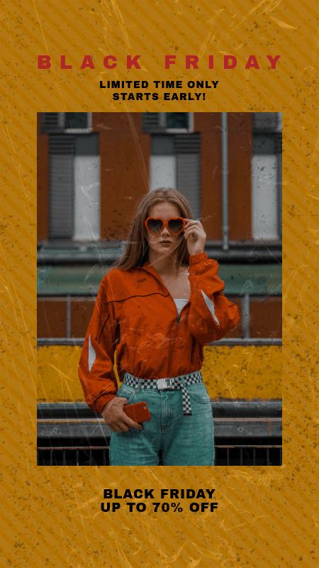 Instagram Story Template for a Black Friday Fashion Sale Announcement 3028e