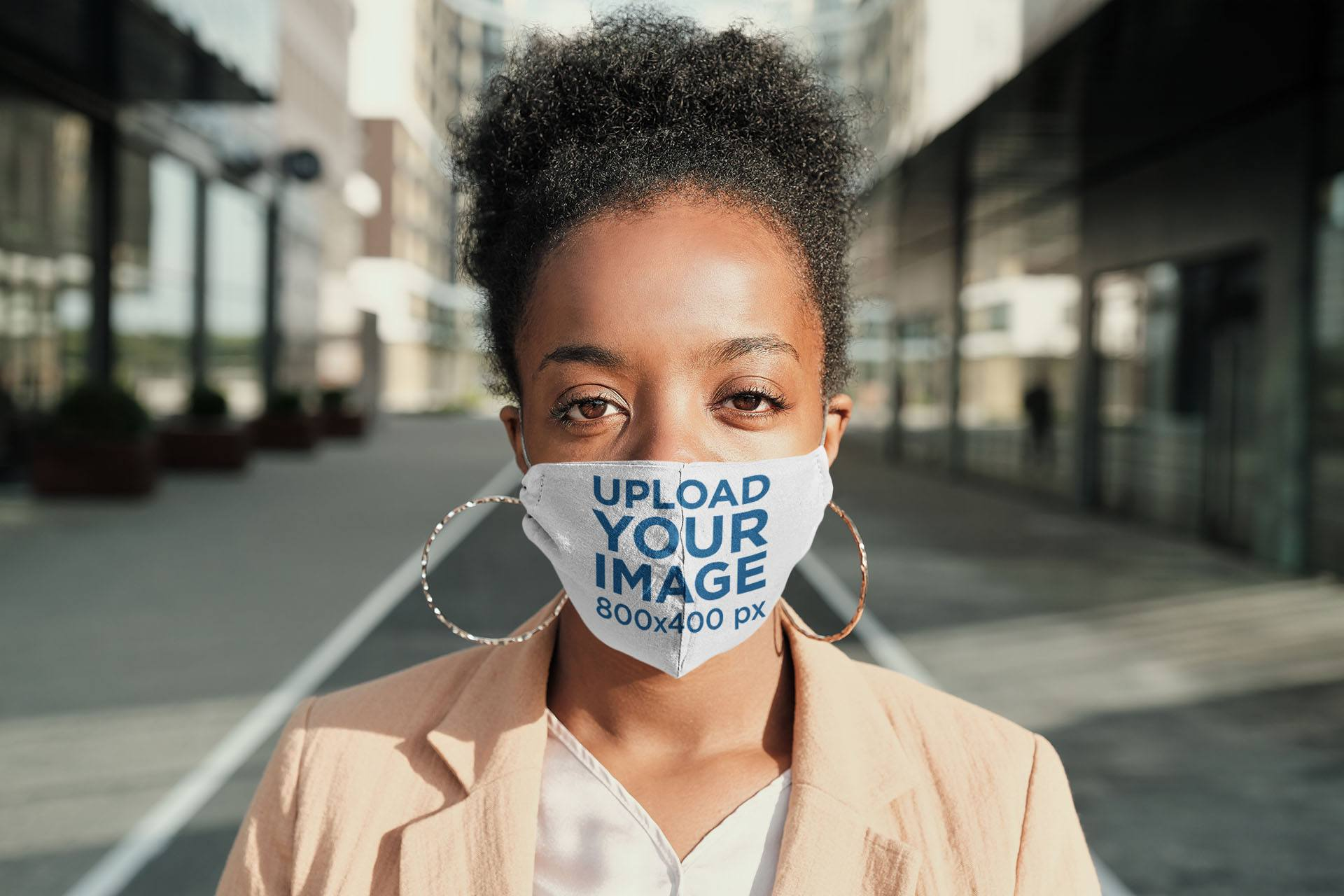 Mockup of a Woman Wearing a Face Mask on the Street 43863-r-el2