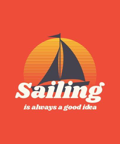 T-Shirt Design Maker with a Vintage Badge of a Boat at Sunset 3042h