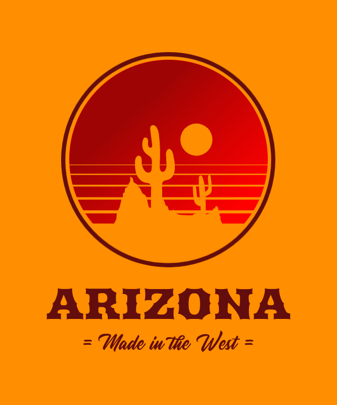 Vintage T-Shirt Design Generator with a Landscape of the Arizona Desert 3043d