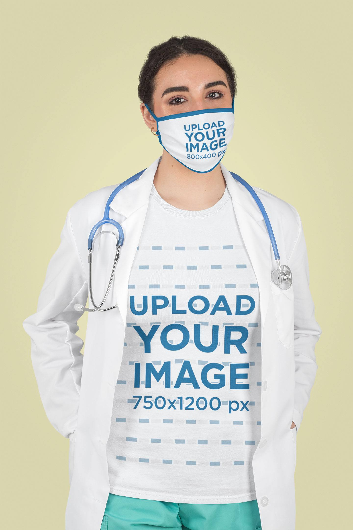 Face Mask and T-Shirt Mockup Featuring a Female Physician at a Studio 218