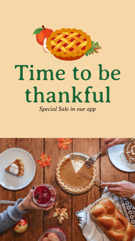 Instagram Story Maker for an App's Thanksgiving Sale 3039d