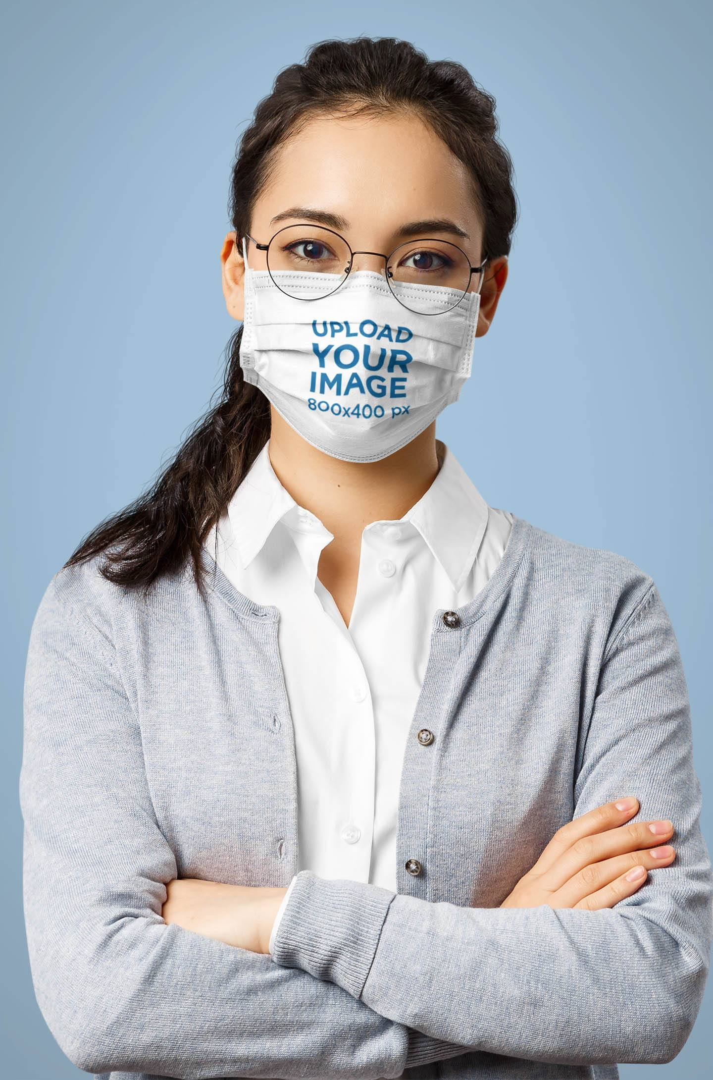Face Mask Mockup of a Woman with Glasses Posing in a Studio 42862-r-el2