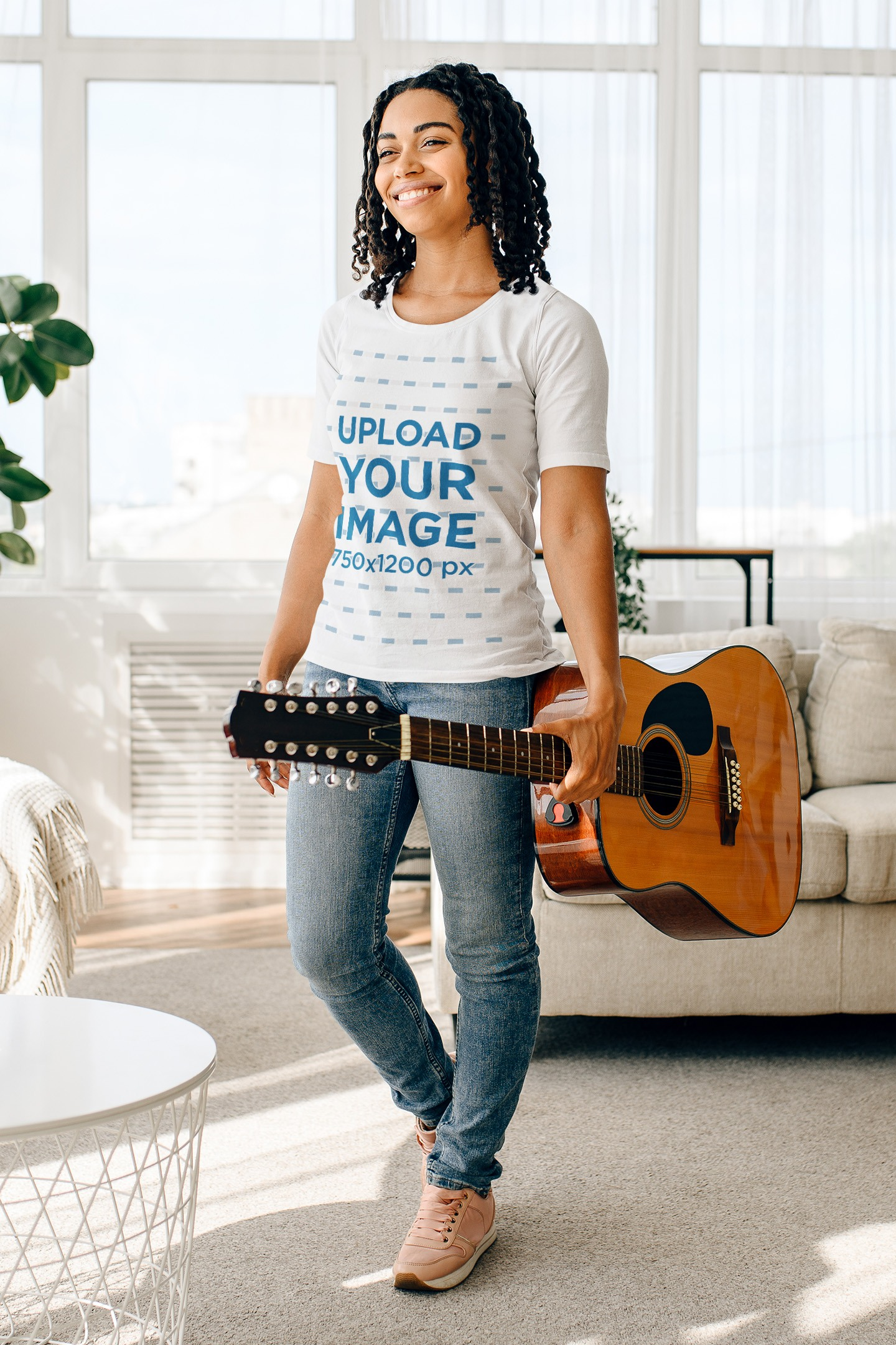 T-Shirt Mockup Featuring a Young Woman Holding an Acoustic Guitar 41351-r-el2