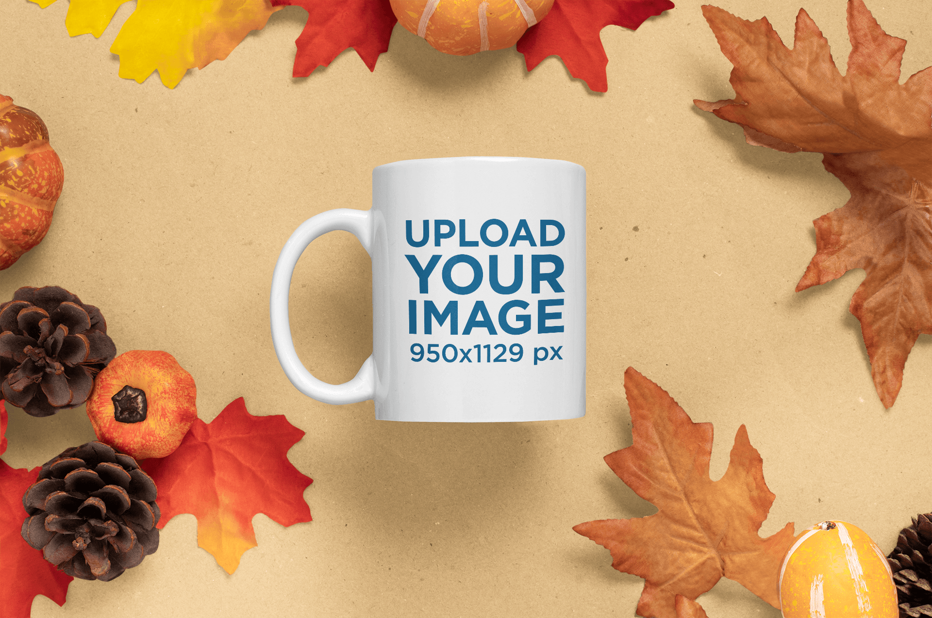 Mockup of an 11 oz Coffee Mug Surrounded by Fall Season Leaves 58