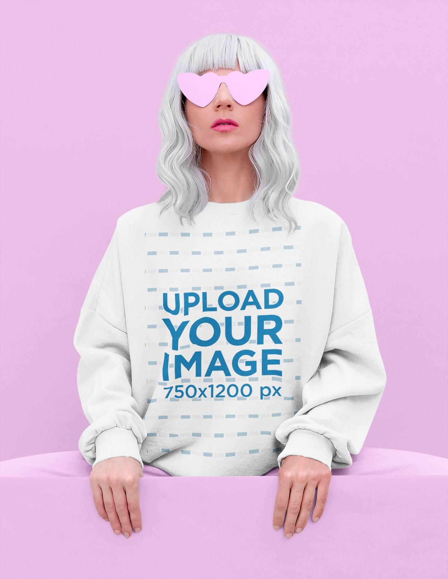 Sweatshirt Mockup of a Woman with an Edgy Look Posing at a Studio 43673-r-el2