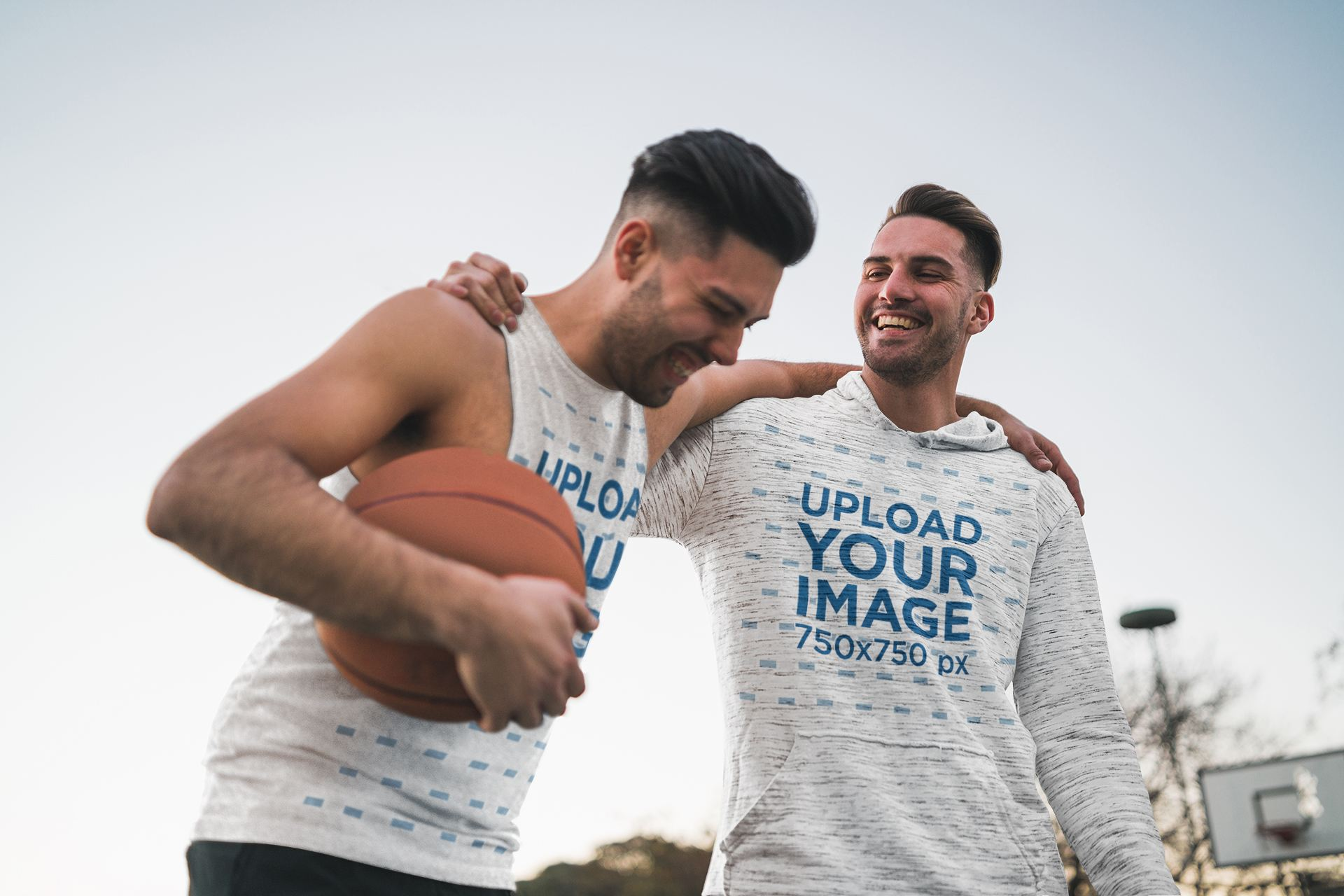 Sleeveless Tee and Hoodie Mockup Featuring Two Friends Playing Basketball 41818-r-el2