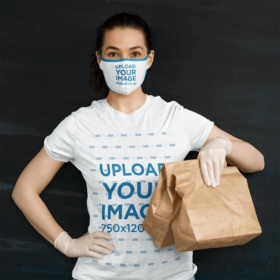 T-Shirt and Face Mask Mockup of a Woman Delivering Food 39565-r-el2