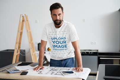 T-Shirt Mockup Featuring an Architect Working 43027-r-el2