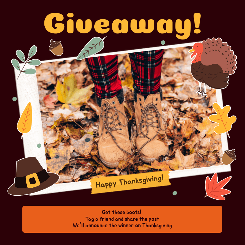 Instagram Post Template for a Thanksgiving Special Giveaway 3040b