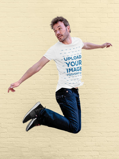 T-Shirt Mockup Featuring a Man Jumping 34960-r-el2