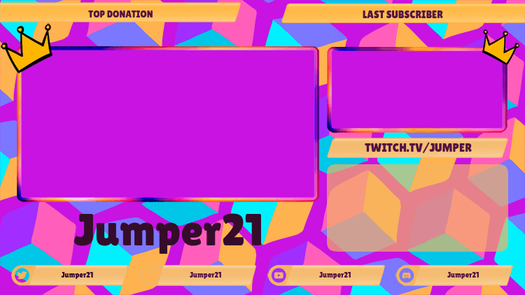 Gaming Twitch Overlay Template Featuring a Colorful Pattern with Multiple Webcams 2989f