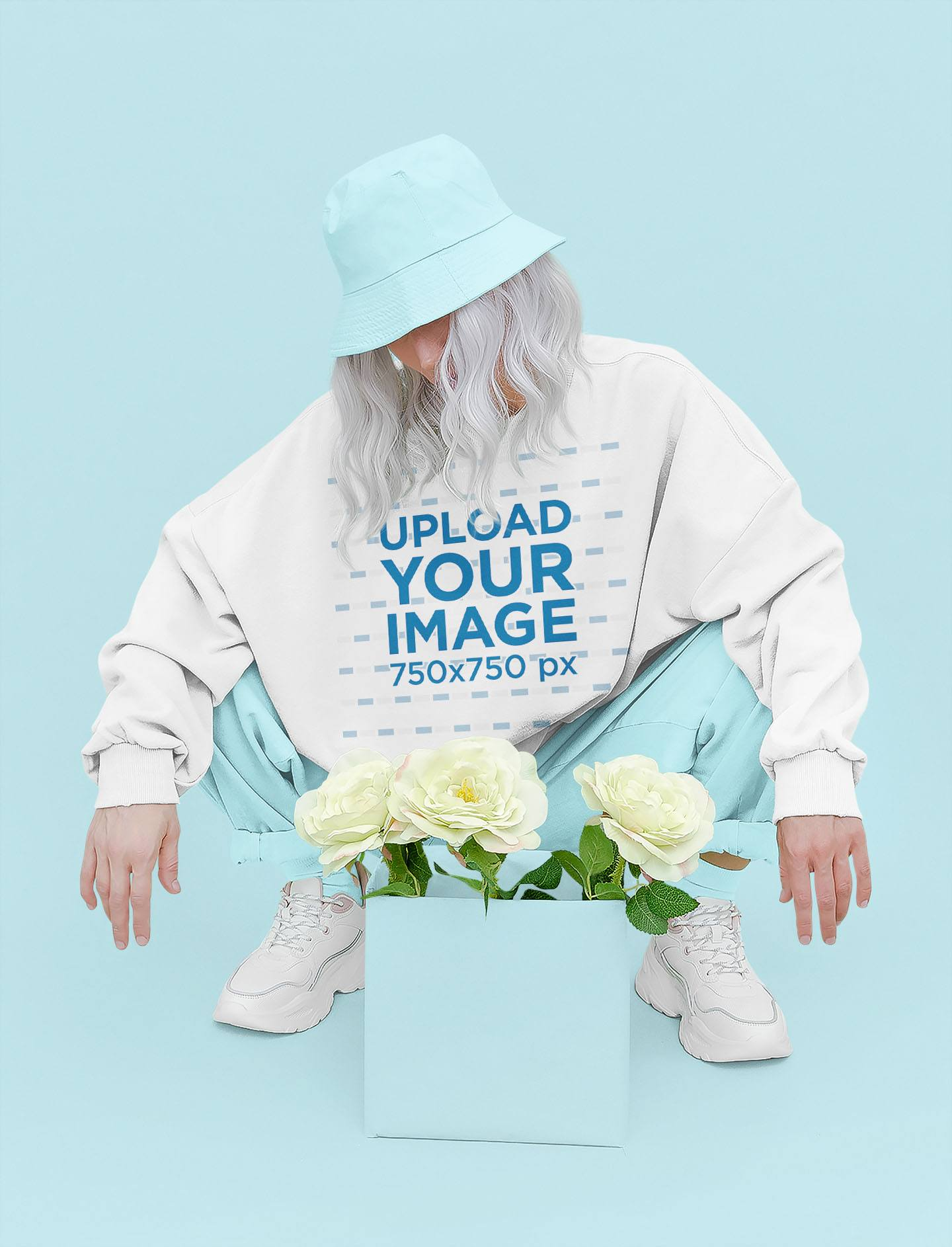 Sweatshirt Mockup of a Woman Looking at Some Flowers in a Studio 43689-r-el2