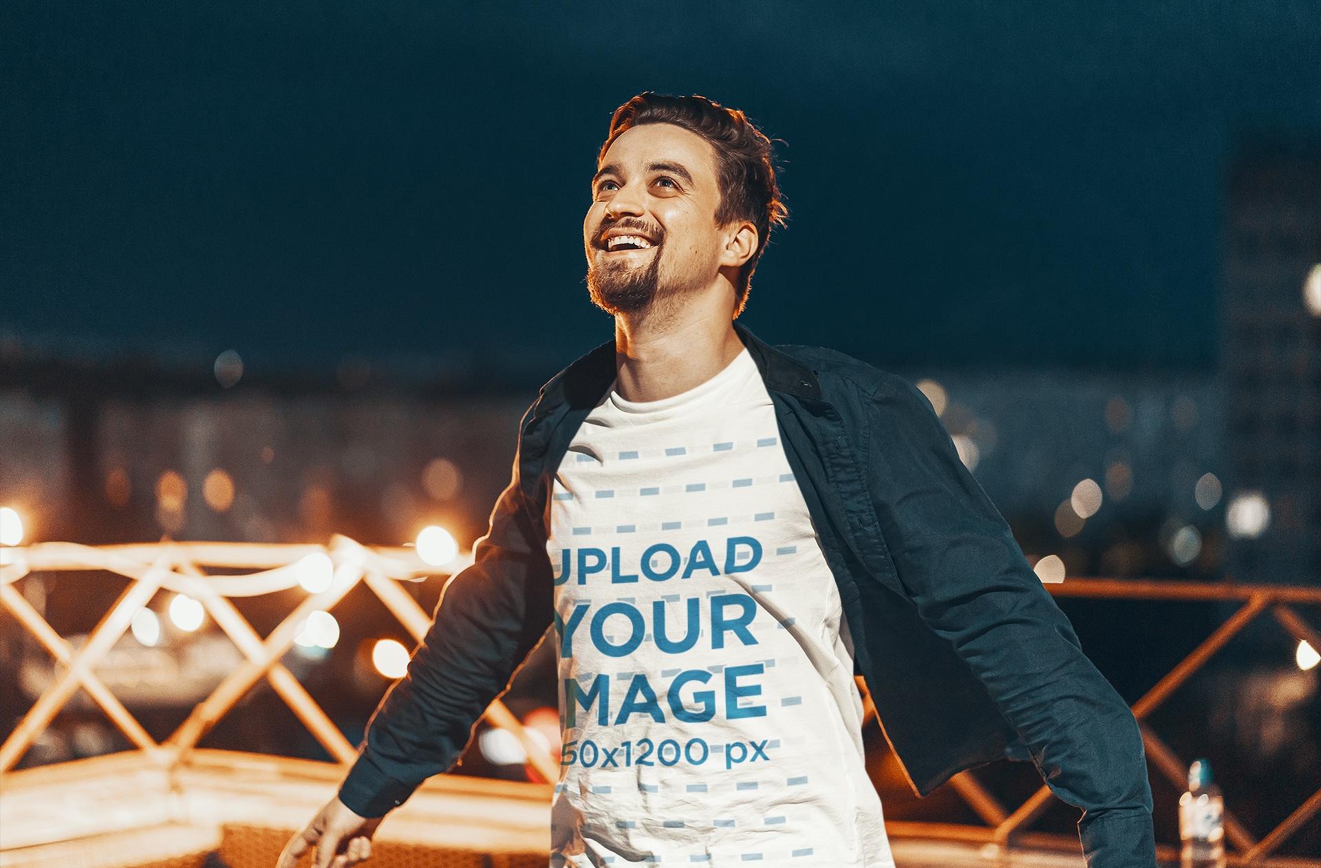 T-Shirt Mockup of a Man Enjoying the Breeze of the Night 43449-r-el2