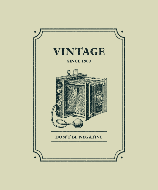 T-Shirt Design Template Featuring Pictures of Vintage Cameras 3094-el1
