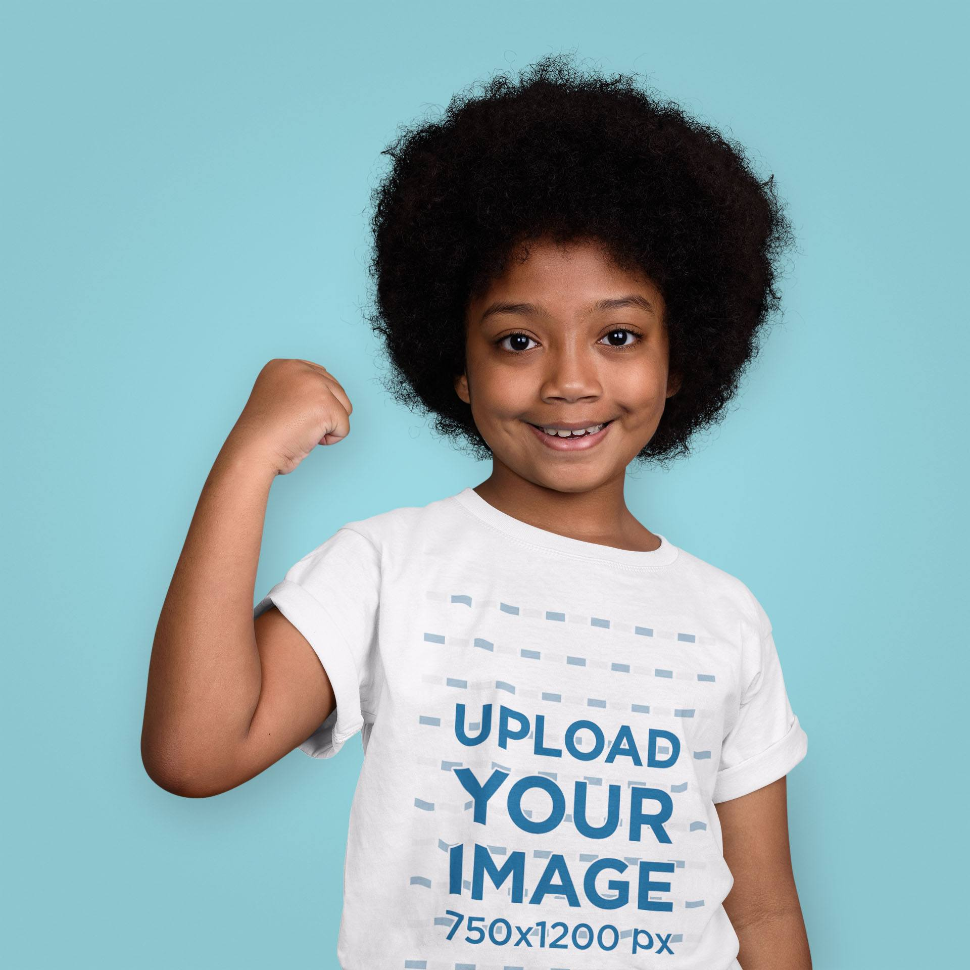 Mockup of a Strong Girl Wearing a T-Shirt at the Studio 39859-r-el2