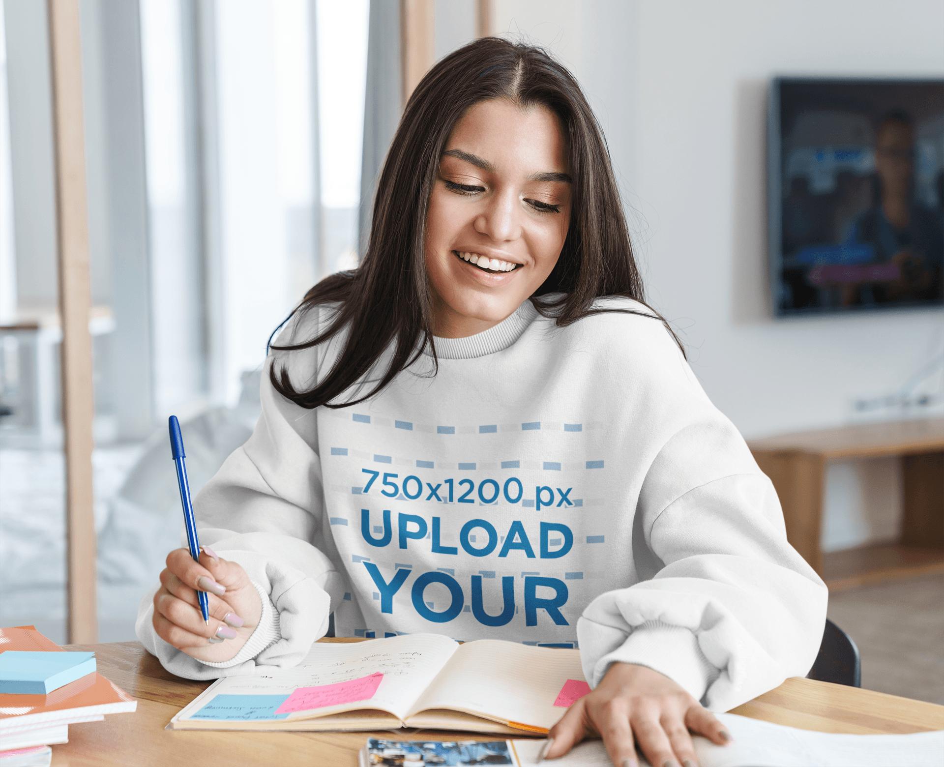 Crewneck Sweatshirt Mockup Featuring a Happy Female Student at Home 41307-r-el2
