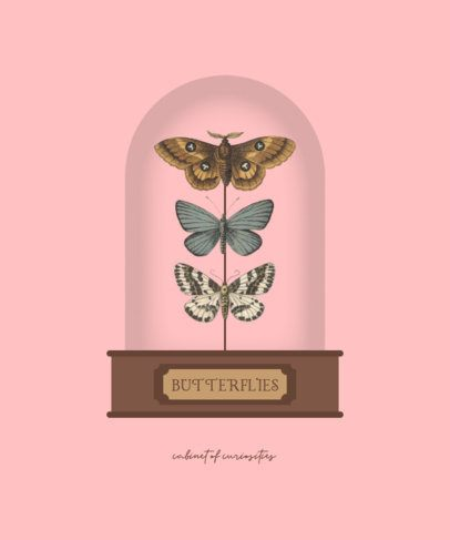 T-Shirt Design Template Featuring Moths in a Glass Dome 3092-el1