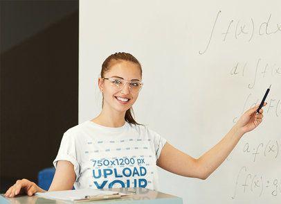 Mockup of a Math Teacher Wearing a T-Shirt 43010-r-el2