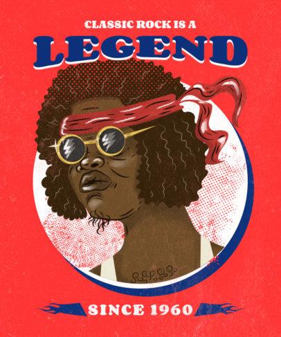 Vintage T-Shirt Design Creator with a Classic Rock Legend Illustration 3071d