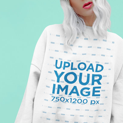 Cropped Face Mockup of a Woman with White Hair Wearing a Sweatshirt 43672-r-el2