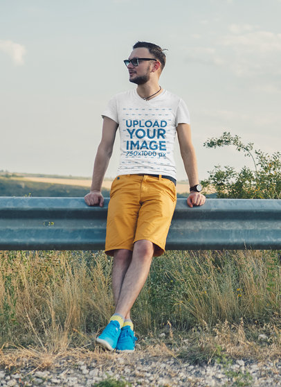 T-Shirt Mockup of a Bearded Young Man Resting by The Highway 39312-r-el2