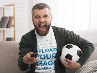 T-Shirt Mockup of a Man Watching a Soccer Match 43212-r-el2