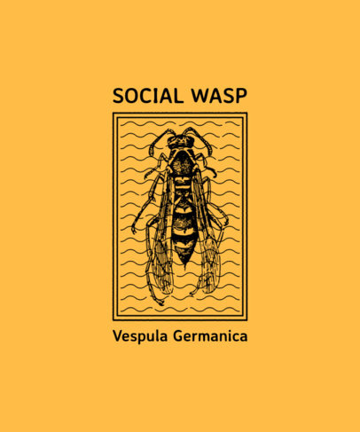 T-Shirt Design Template Featuring a Vintage Illustration of a Wasp 3098d-el1