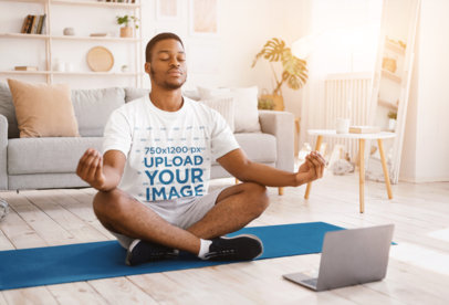 T-Shirt Mockup of a Man Doing Yoga at Home 44293-r-el2