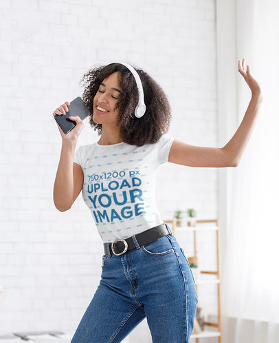 T-Shirt Mockup of a Woman Singing and Dancing at Home 44294-r-el2