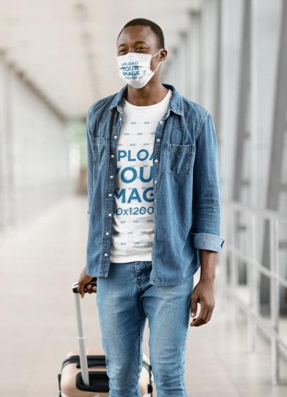 T-Shirt and Face Mask Mockup of a Happy Man at an Airport 41594-r-el2