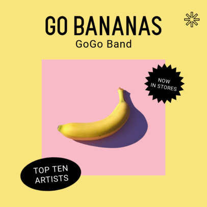 Album Cover Template for a Pop Band Featuring an Artistic Setting with a Banana 3076d-el1
