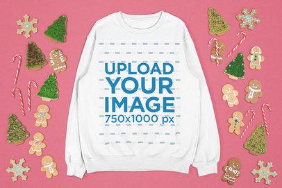 Sweatshirt Mockup Featuring Christmas Cookies m23
