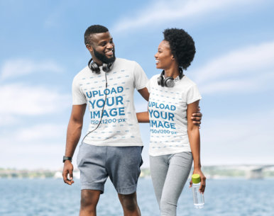 T-Shirt Mockup of a Fit Couple Wearing Activewear 34924-r-el2