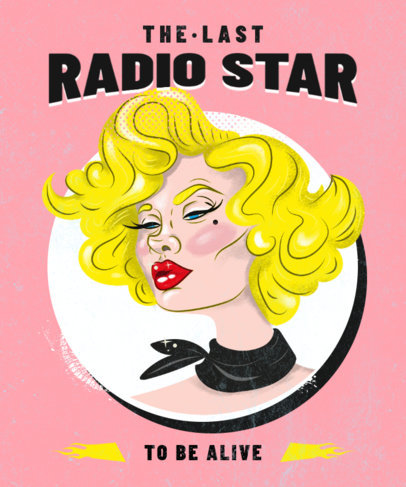 Illustrated T-Shirt Design Creator Featuring a Radio Female Star 3071e