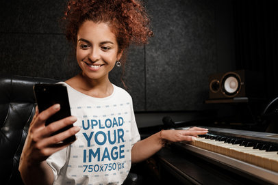 T-Shirt Mockup Featuring a Keyboard Player 39737-r-el2