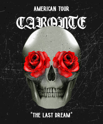 T-Shirt Design Creator for a Metal Band Featuring a Skull with Roses 3069c