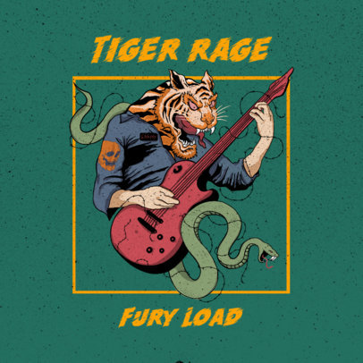 Illustrated Album Cover Maker for a Punk Band Featuring a Tiger with an Electric Guitar 3073b