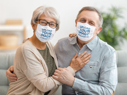 Face Mask Mockup Featuring a Happy Senior Couple at Home 44268-r-el2